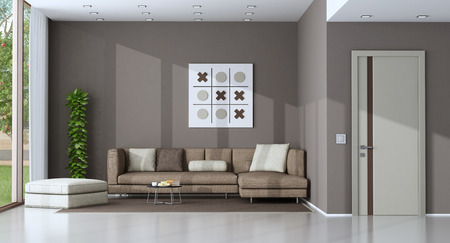 Modern living room with sofa and footstool - 3d rendering Фото со стока