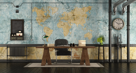 Retro office in a loft with wooden dek and world map on background - 3d rendering