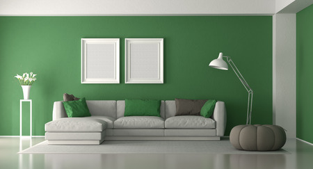 White and green modern living room with elegant sofa and footstool - 3d rendering