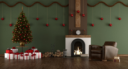 Green room with Christmas tree, fireplace and leather armchair - 3d rendering