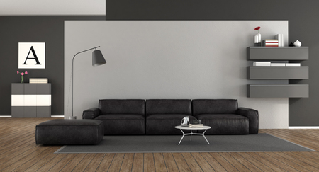 Minimalist living room with black leather sofa against white wall 3d rendering Stock Photo