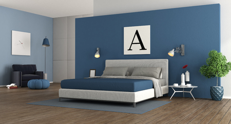Blue modern master bedroom with double bed.wardrobe and armchair - 3d rendering