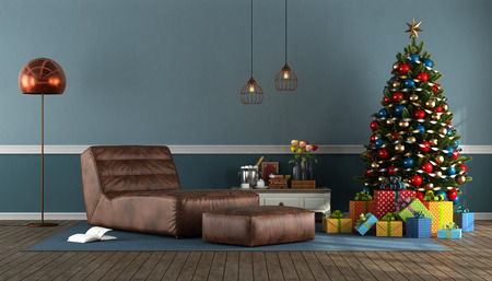 Blue living room with Christmas tree,present and leather chaise lounge - 3d rendering Stock Photo
