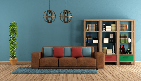 Blue retro living room with leather sofa and bookcase - 3d rendering