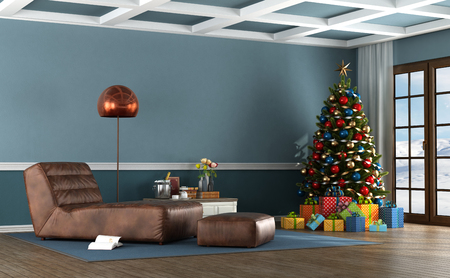 Living room of a mountain house with Christmas tree and leather chaise lounge - 3d rendering Stock Photo
