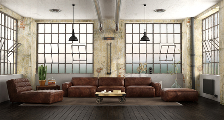 Living room in a loft with leather sofa,chaise lounge and large windows - 3d rendering Stock Photo