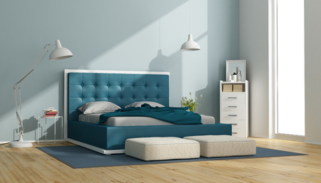 Blue and white master bedroom with leather bed and drawers - 3d rendering