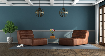 Elegant blue living room with leather chase lounges - 3d rendering Stock Photo