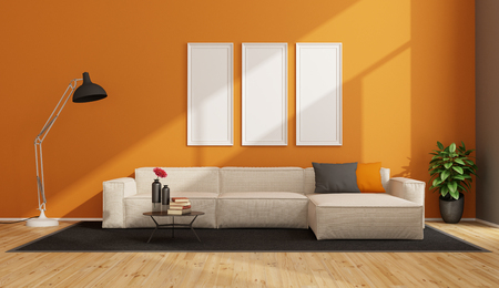 Orange living room with white sofa and floor lamp - 3d rendering Stock Photo