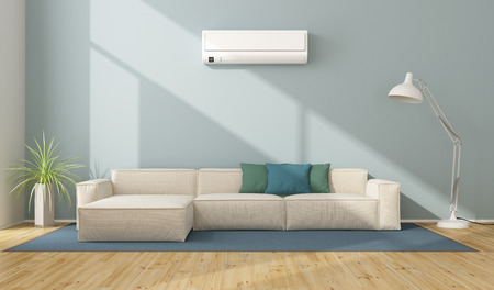 Blue modern living room with white sofa and air conditioner - 3d rendering Stock Photo