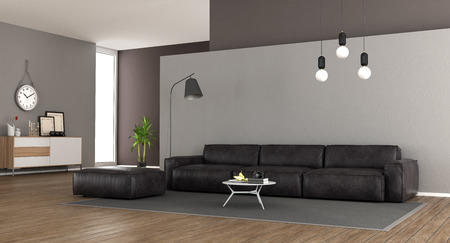 Modern living room with leather sofa and sideboard - 3d rendering
