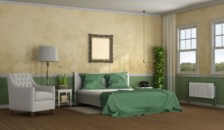Elegant master bedroom in classic style with double bed and armchair - 3d rendering Stock Photo