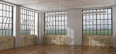 Old room in a loft with damaged walls and large windows - 3d rendering