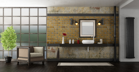Bathroom in a loft with washbasin on wooden shelf and armchair - 3d rendering Stock Photo