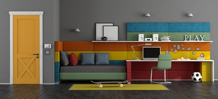 Young teenager room with bed, studyspace and colorful fabric panels . 3d rendering