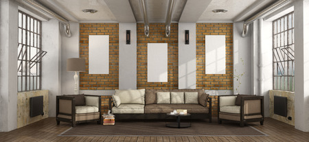 Living room in a loft with wooden sofa,armchair and large windows - 3d rendering Stock Photo