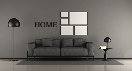 Black minimalist living room with fabric sofa,coffee table and floor lamp - 3d rendering