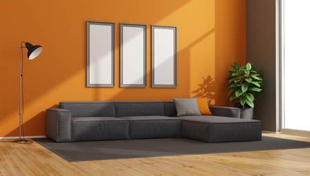 Gray and orange modern living room with fabric sofa and floor lamp - 3d rendering Stock Photo