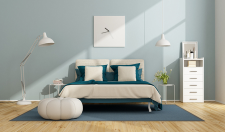 Blue and white master bedroom with double bed and drawers - 3d rendering Stock Photo