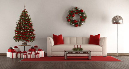 White living room with Christmas tree,gift and elegant sofa - 3d rendering Stock Photo