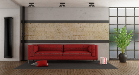 Living room with red sofa,stone wall and old windows - 3d rendering
