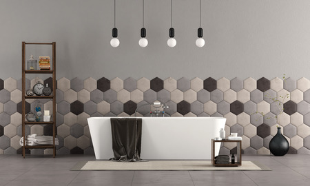 Bathroom with modern bathtub , hexagonal tiles and decor objets - 3d rendering