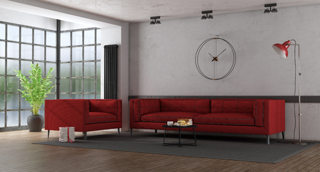 Red fabric sofa in a loft with hardwood fllor and large old window - 3d rendering