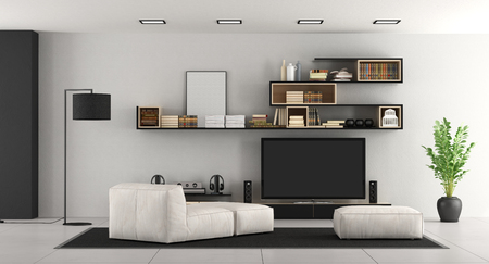 White living room with bookcase,chaise lounge,footsttol and TV set - 3d rendering Stock Photo