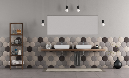 Bathroom withdouble sink on wooden shelf and hexagonal tiles - 3d rendering