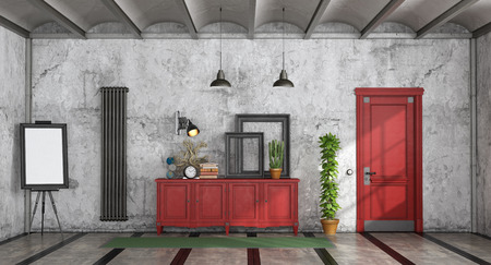 Retro home entrance with red sideboard and closed door- 3d rendering