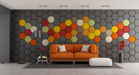 Modern living room with white sofa and colorful hexagonal panels on wall - 3d rendering