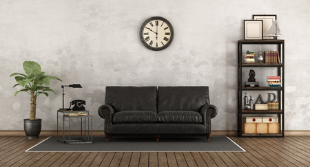 Retro living room with leather sofa and vintage bookcase - 3d rendering Stock Photo