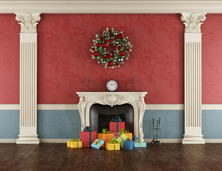 Empty retro living room with colorful Christmas present in a classic fireplace - 3d rendering