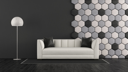 Black and white living room with elegant sofa and wooden hexagonal panel on wall - 3d rendering Stock Photo