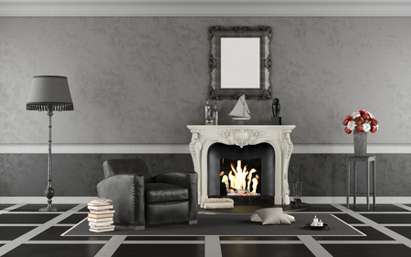 Black and white retro living room with fireplace and vintage armchair - 3d rendering