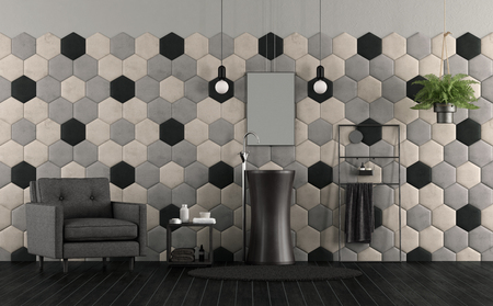 Bathroom with sink , hexagonal tiles and fabric armchair - 3d rendering Stock Photo