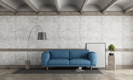 Old room with blue sofa against old concrete wall - 3d rendering Stock Photo