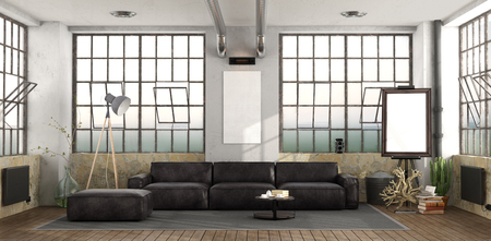 Large living room with black leather sofa - 3d rendering Stock Photo