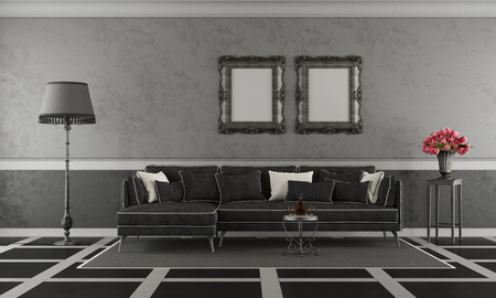 Black and white classic living room with sofa and floor lamp - 3d rendering Stock Photo