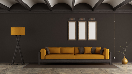 Retro room with orange sofa against brown wall - 3d rendering