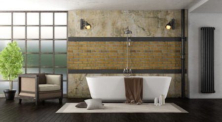 Vintage bathroom with modern bathtub - 3d rendering