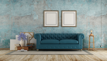 Retro room with blue calssic sofa against old wall - 3d rendering Stock Photo