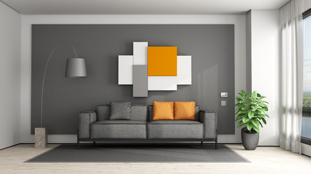 Gray and orange living room with fabric sofa - 3d renderig