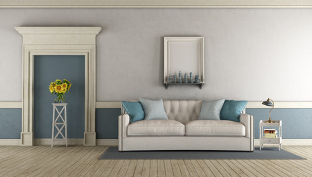 White and blue classic living room with fabric sofa and stone portal - 3d rendering