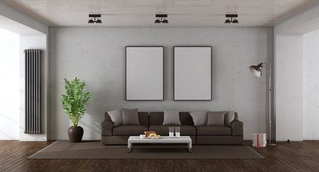Minimalist living room with brown sofa against old wall - 3d rendering