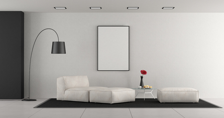 White minimalist living room with leather chaise lounge,footstools and blank frame - 3d rendering