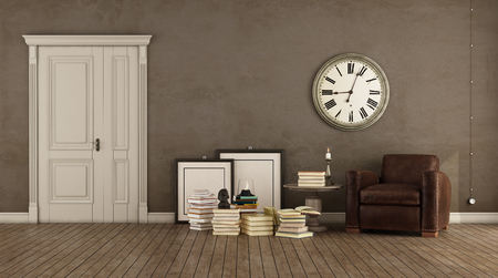 Retro brown living room with vintage armchair, books on wooden floorand closed door - 3d rendering