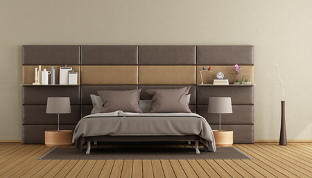 Modern master bedroom with double bed against leather panels - 3d rendering