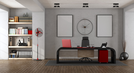 Modern office with black desk and bookcase - 3d rendering Фото со стока