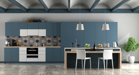 White and blue contemporary kitchen with arched ceiling and cement floor - 3d rendering Фото со стока
